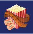 package popcorn snack and cinema tickets vector image vector image