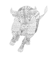 Patterned bull zentangle style vector image