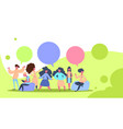people chat bubbles creative green background flat vector image vector image