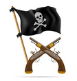 pirate flag and pistols vector image vector image