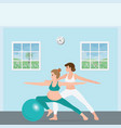 pregnant woman doing yoga with a trainer vector image vector image