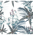 seamless pattern blue lilies flowers vector image vector image