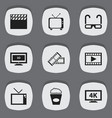 set of 9 editable cinema icons includes symbols vector image