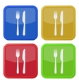 set of four square icons - cutlery fork and knife vector image vector image