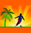 soccer players and palm tree vector image vector image