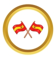 Spain crossed flag icon vector image vector image