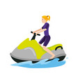 sports women above boat in the ocean when summer vector image vector image