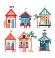 summer set of beach huts vector image vector image