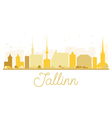 Tallinn City skyline golden silhouette