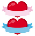 two banners with red heart on white background vector image