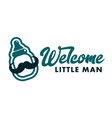 welcome little man baby shower emblem vector image vector image