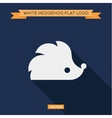 White hedgehog icon into flat logo vector image vector image