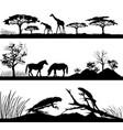 wild animals giraffes horses iguanas vector image vector image