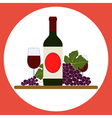Wine bottle with wineglasses and grape vector image vector image