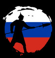 warrior silhouette on russia flag and black vector image