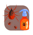 orange sprayer of mite or tick insecticide and vector image