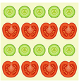 red tomatoes and green cucumbers vector image