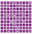 100 oppression icons set grunge purple vector image vector image