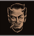 a devil face smoking a cigar vector image