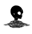 alien is sitting in a flying saucerhand drawn vector image