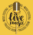 banner live music with microphone vector image vector image