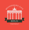 banner with brandenburg gate in berlin vector image vector image