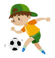 boy kicking soccer ball alone vector image