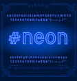 bright neon alphabet letters numbers and symbols vector image vector image