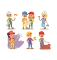 Builders kids charcaters vector image vector image