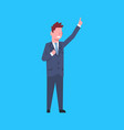 business man point finger up female office worker vector image
