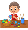 Cartoon boy painting Easter egg vector image