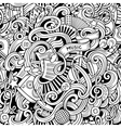 Cartoon hand-drawn doodles music seamless pattern vector image vector image
