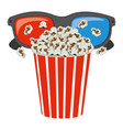 color pop corn with 3d glasses icon vector image vector image