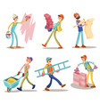 construction workers funny cartoon set vector image vector image