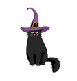 cute black cat in halloween hat vector image vector image