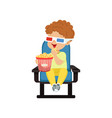 cute little boy in 3d glasses sitting on a blue vector image vector image