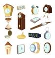 Different clocks icons set cartoon style vector image