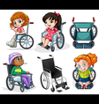 Disabled patients with wheelchairs vector image vector image