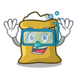diving flour character cartoon style vector image vector image