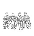 drawing four old men friends sitting on bench vector image vector image
