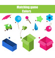 educational children game matching game worksheet vector image vector image