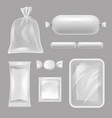 empty food packages realistic pictures of vector image vector image