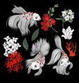 fish and flowers in graphic style isolated vector image vector image