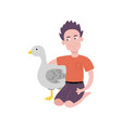 flat teen boy hugging turkey domestic bird vector image