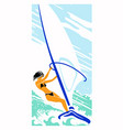 girl with black hair on a sailing board vector image vector image