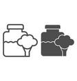 glass jar baby food line and glyph icon broccoli vector image