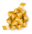 gold realistic gift bow with ribbon decoration vector image vector image