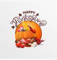 happy thanksgiving round orange greeting banner vector image