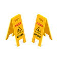 isometric caution wet floor sign isolated on white vector image vector image