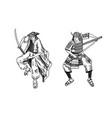 japanese samurai warriors with weapons sketch men vector image vector image